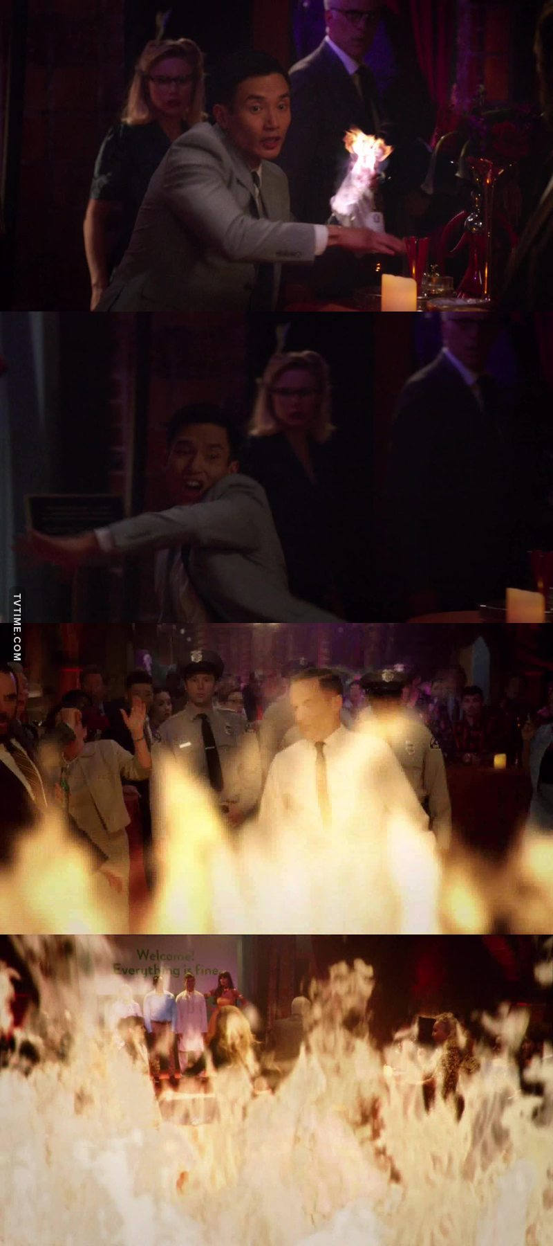 He actually solved the problem with a molotov cocktail, and I just love the writing of this show so forking much