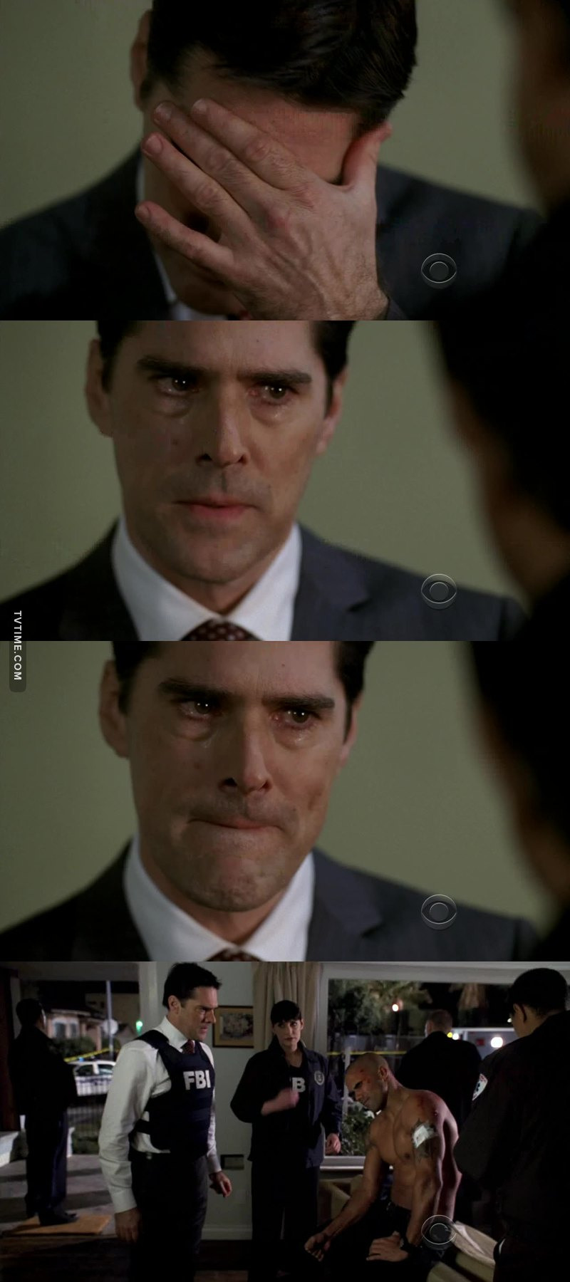 """Oh no, no, no, no...no.  When Dave ask """"so you think this is your fault?""""  The way Hotch looks away and hesitate before answering hit me like a truck, but when he finally says """"it is..."""" and his voice cracks... Totally crush me...guys😭!!  And when he ask Morgan if he is ok 😭 his poses😭😭 he is trying not to felt into million pieces😭😭 he thinks people die because of him and then one of his family members almost die...💔😭💔!!"""