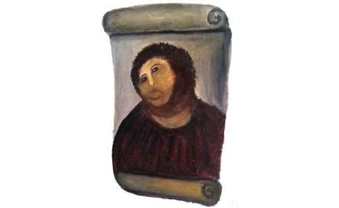 Descobrimos agora que foi a Lucrécia que tentou reformar a pintura de Jesus.