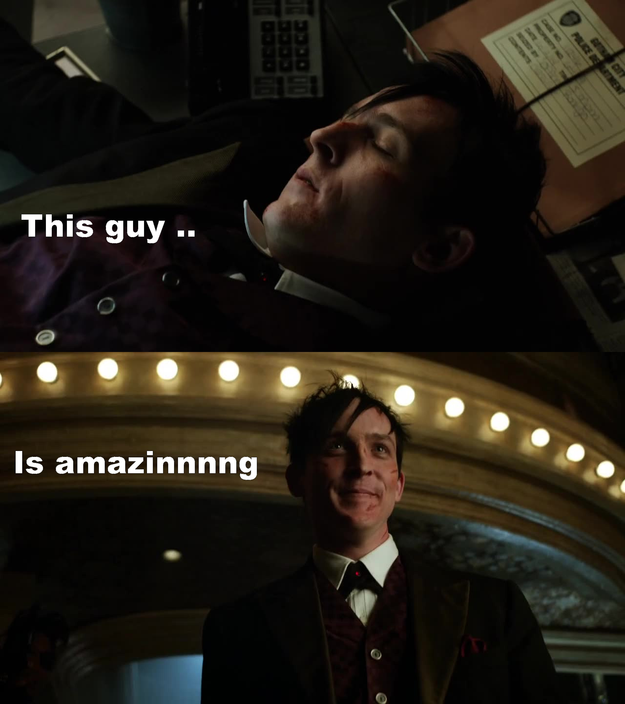 It was a noce Ep .. So fish is gone i like her character .. Liz poor one she liked Falcone //  Jim dear Jim nice job .. And that Dr looks nice but Barbara will be back .. / miss the children in this ep the little bat and cat :p ..  But the best one beside the villain is Cobblepot :D