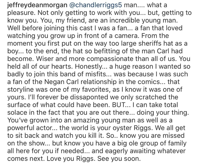 Jeffrey Dean Morgan's tribute to Chandler Riggs is beautiful. ❤️