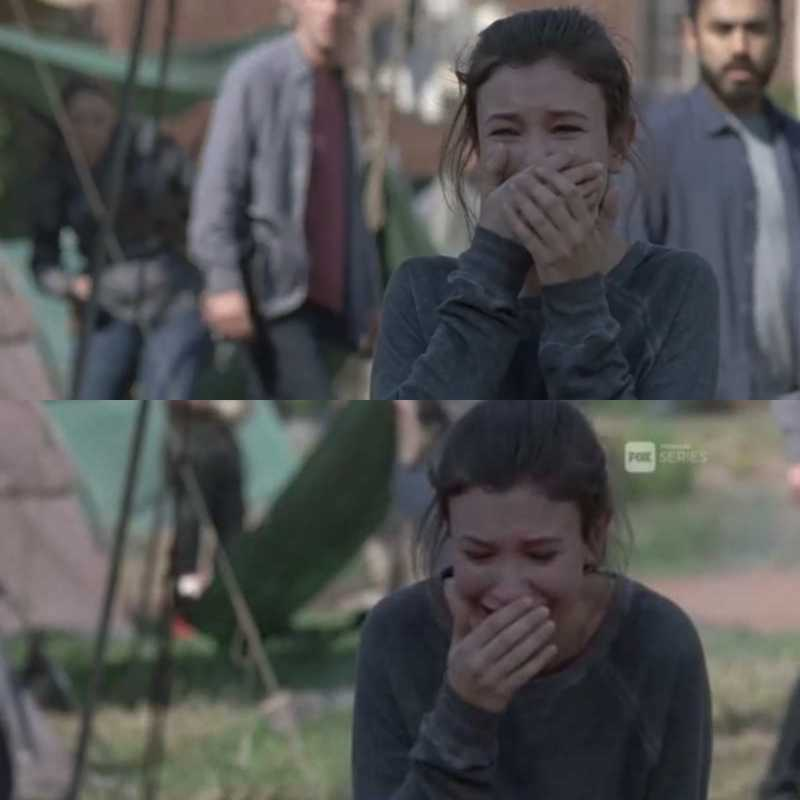 Just when you think you're almost over Carl death, here comes Enid crying.