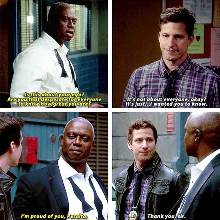 Jake's face whenever Holt says he's proud of him 😊 Like he's trying not to cry 🤗
