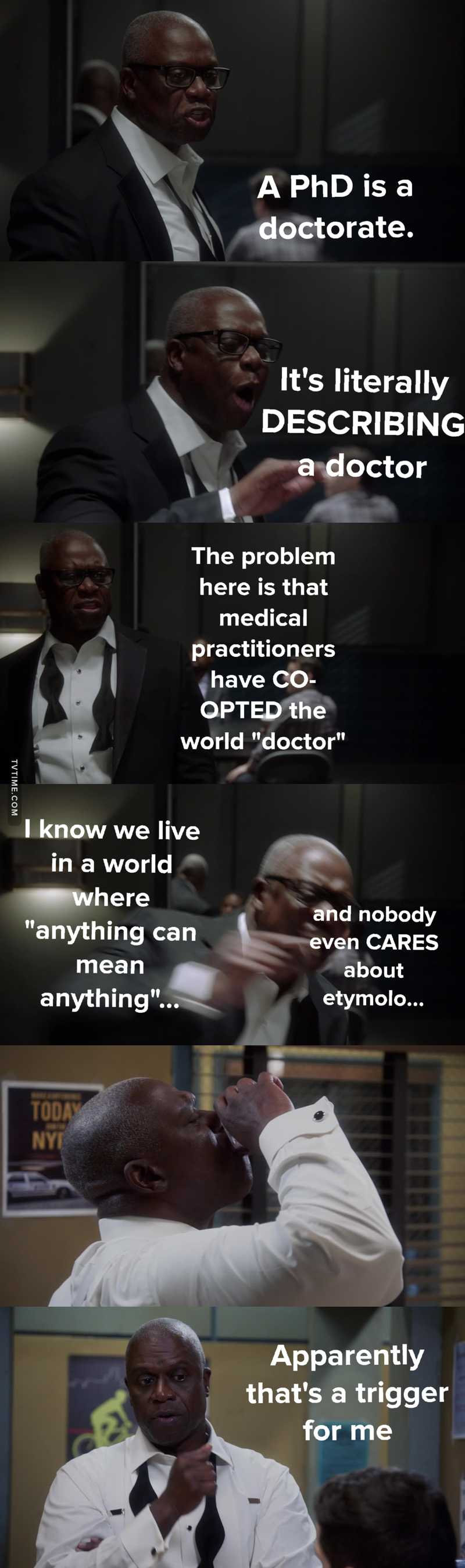 I hate doing texts in this app but this scene broke me real hard. I'm loving Capt Holt more each day.