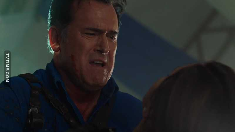 First time I've seen Ash truly looking hurt. He didn't look so pained even when he beheaded his girlfriend Linda. .