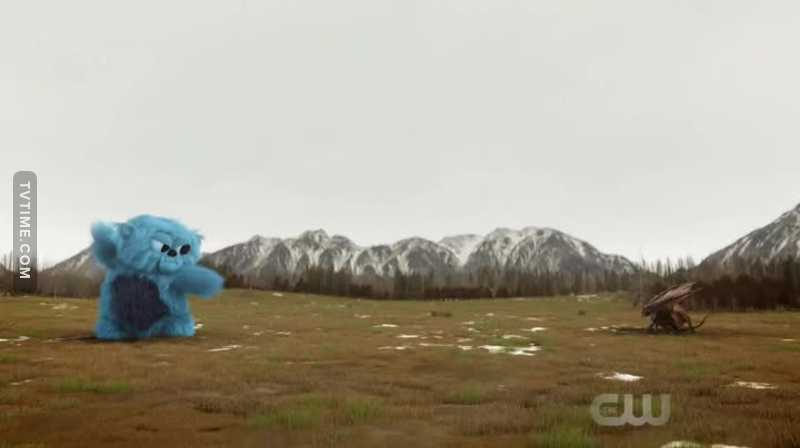 "Welcome to Legends of Tomorrow, where a giant cuddly bear defeats a villainous time demon whose name was mispronounced for a whole season 😂 ""We screw things up for the better"""