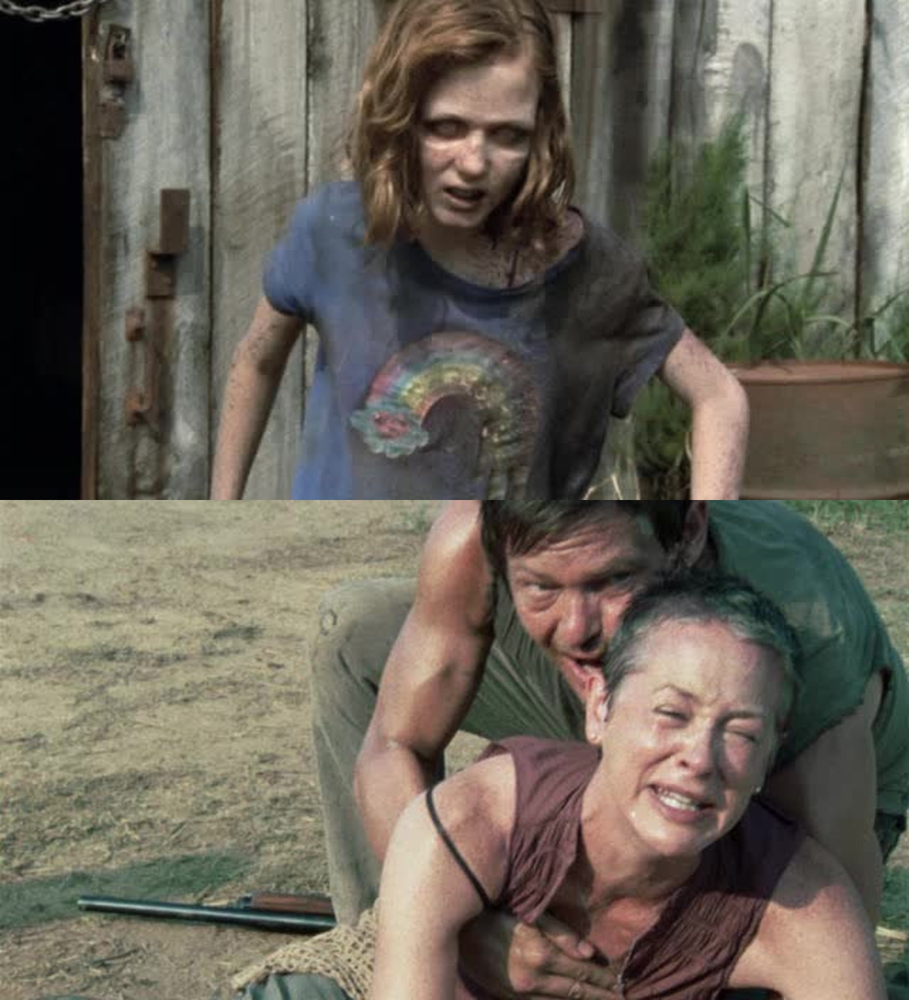 Oh no Sofia she was right there all the time right under their noses . She turned into a walker..... So sad. I love how Daryl and Carol connect and get eachother and really look out for eachother