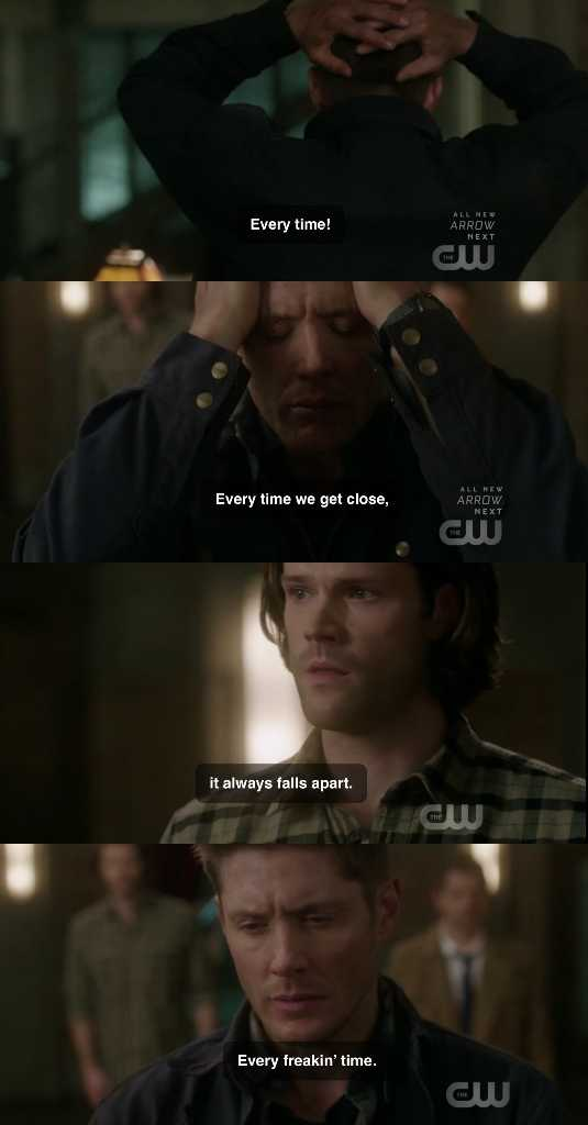 Aww. Deans last words broke my heart. Something needs to go right for them. 😢💔