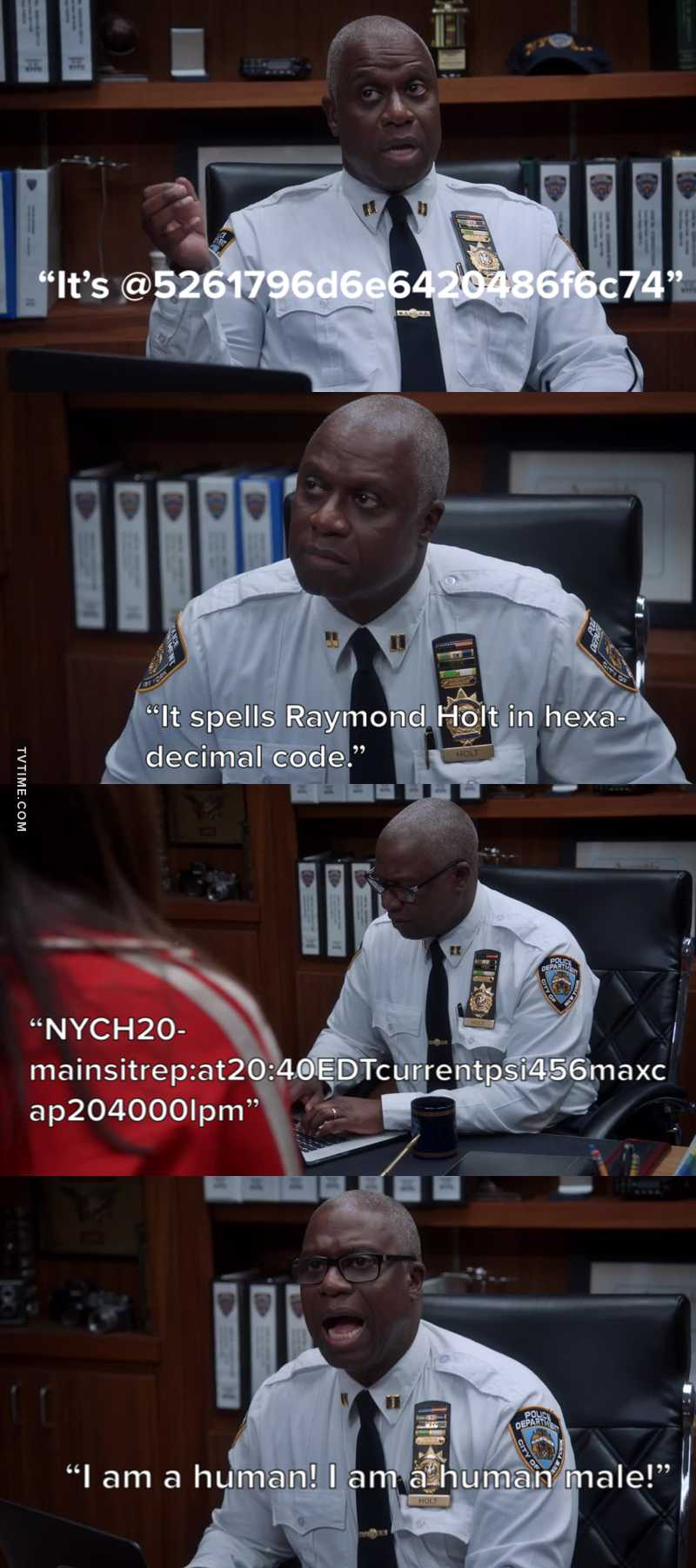 Captain Holt trying to tweet had me in TEARS! 😂 So many numbers!