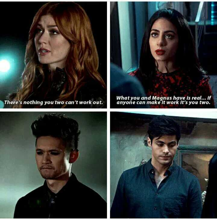Clary and Izzy being our voice in the show to keep Malec going on. 😍