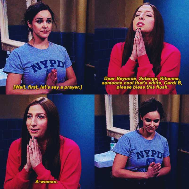 Amy is really cute in this scene!☺  Gina is great!😂