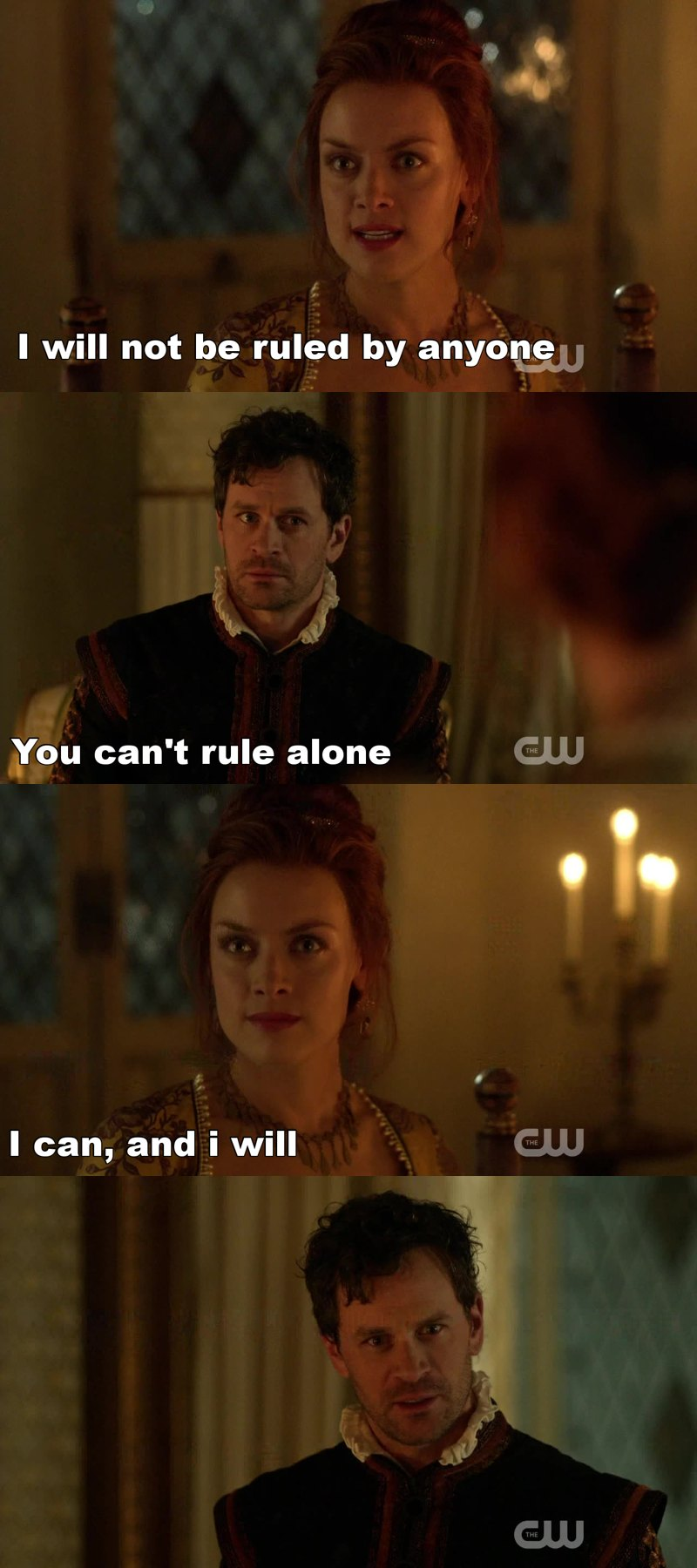 Despite she's a treat for Mary I can't hate her. I mean, wanting rule alone, be indipendent, be proud of herself and about her ability, her strength, she looks like the real Elizabeth and I'happy they are respecting history.