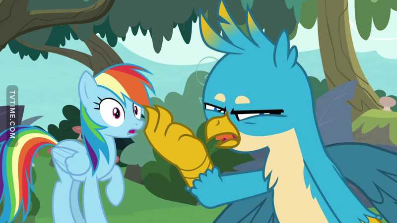 """What the hell happened to all the development Rainbow Dash and Applejack have gone through since season one? This episode was atrocious. Taught an okay yet simple lesson, but it was awfully executed and could have been done a lot better.  HOWEVER  Gallus is a fucking God. He's a snarky bastard and it's great to watch.  """"What do we do?"""" """"Leave them hanging.""""  Love to see it.  Yeah anyway, this episode was terrible."""