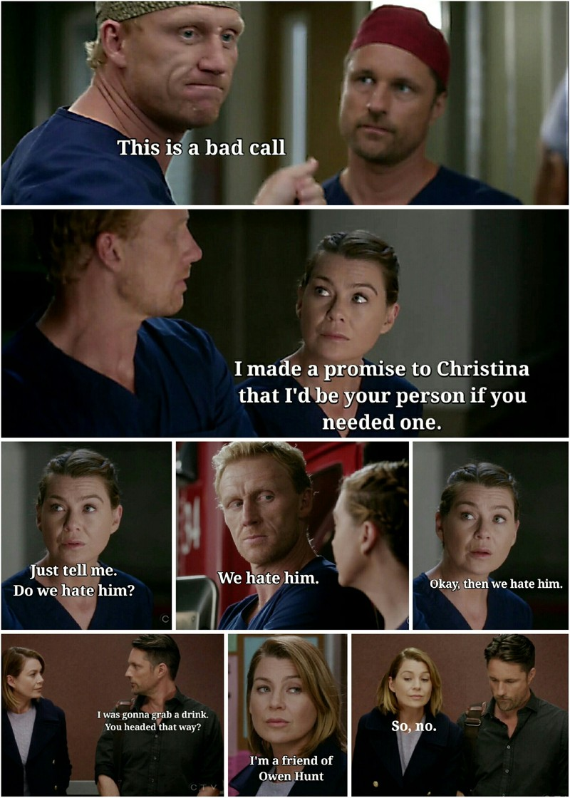 I like that she doesn't even need an explanation. Owen hates him,  she hates him. Though it would be good to know the why now, I'm sure next episode will have answers :P