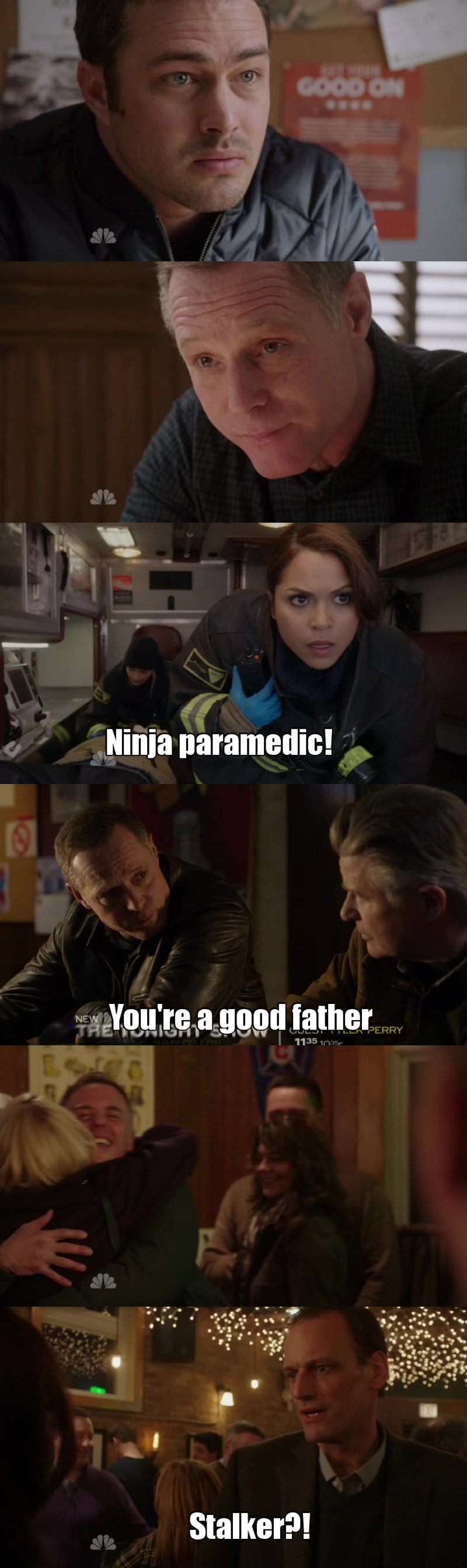 Such a good and strong episode! All my favorites characters were in this episode: Voight, Lindsay, Severide, Benny. When Voight said to Benny that he's a good father I don't think Voight really know how he raised his kids, but if Voight was in the same situation as Benny he'll do the same for his son, I remember that all started when Voight was trying to protect his own son and Casey got in the way, that's clearly the reason why he helped Benny out and for Benny is not really hard to left Chicago area for a while, he does that all the time