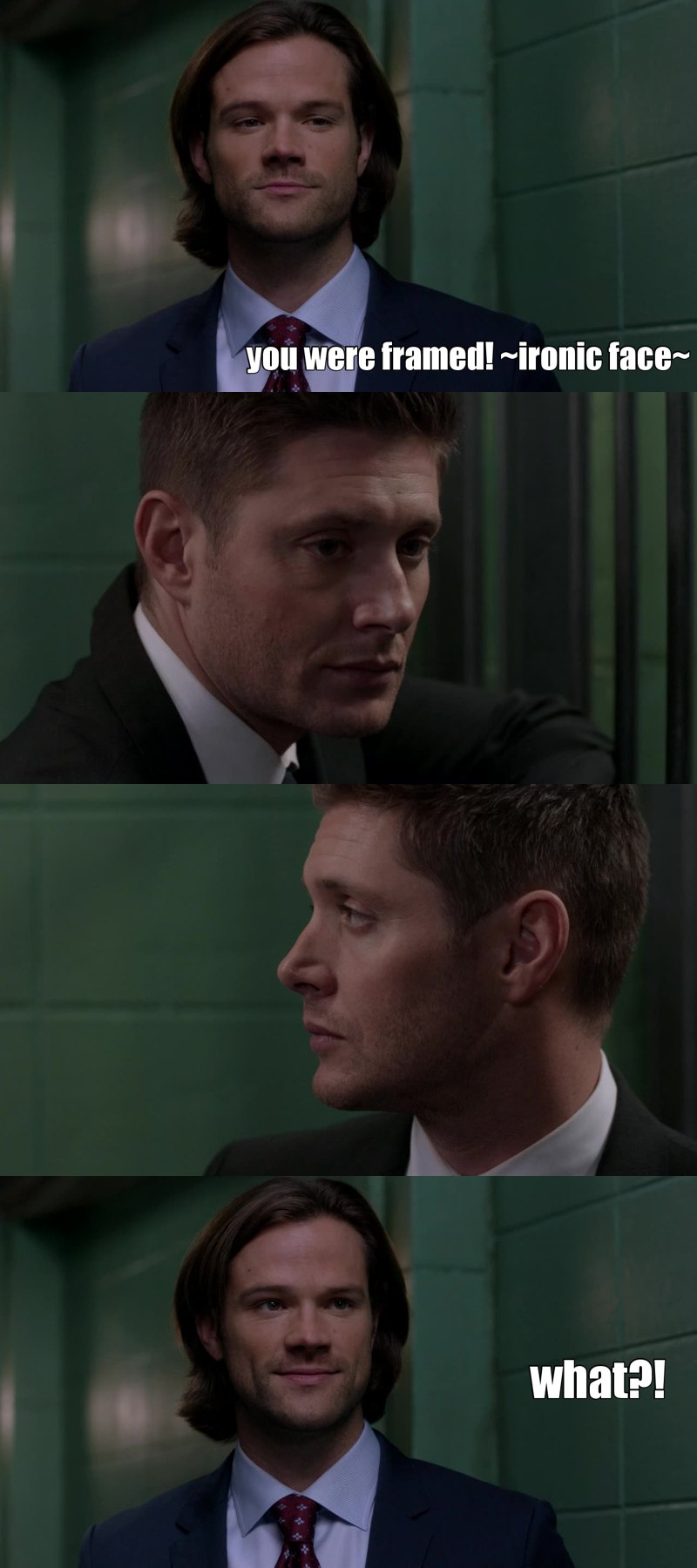 Sam trying to be ironic is one of the funniest things I've ever seen. come on, Sammy... you're great at many things but not this hahaha leave that to Dean.