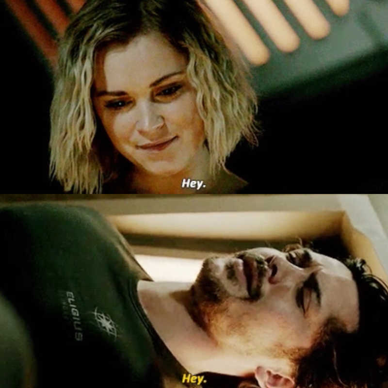 after 125 years in cryo sleep the first thing bellamy sees is clarke smiling at him :')