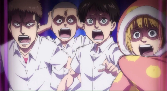 It's funny how they turn into their older selves -from SNK- when they are scared 😂...