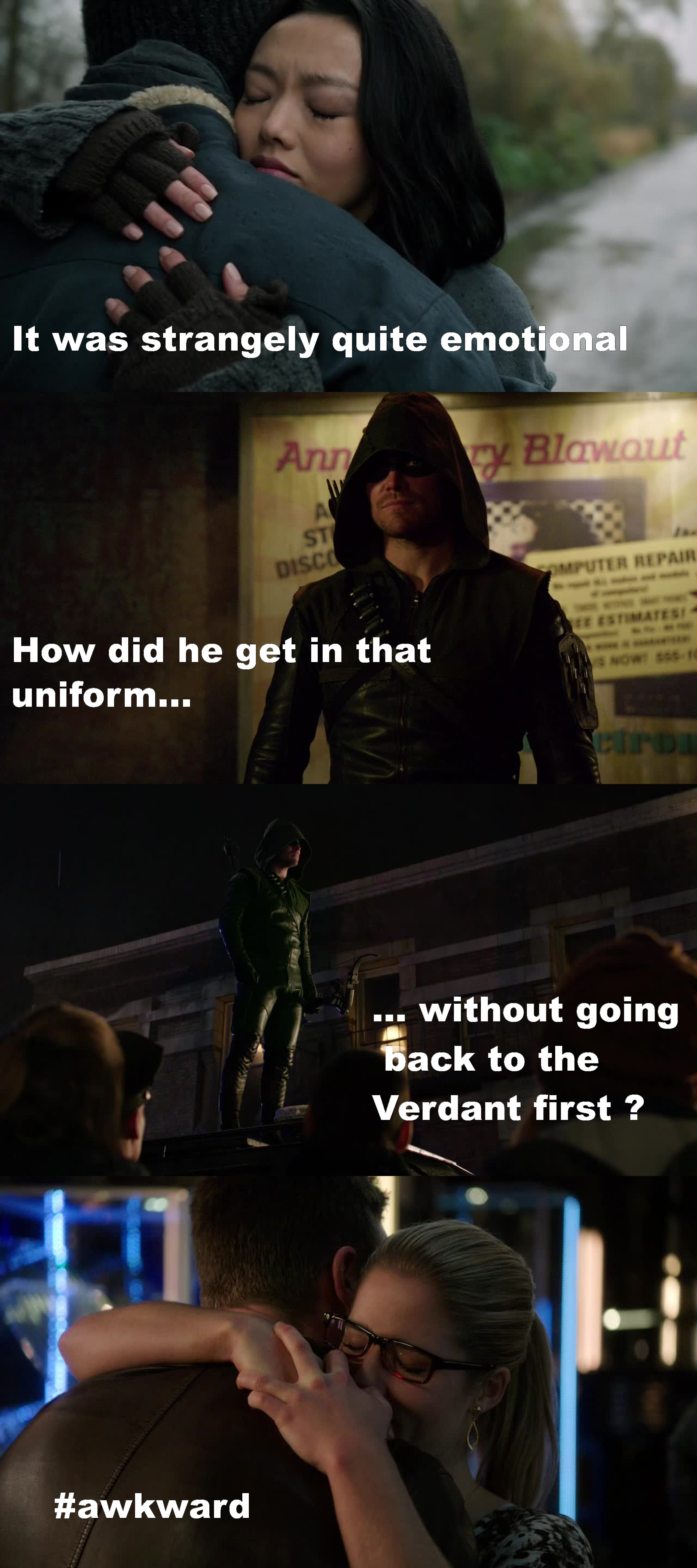 "I'm disappointed. I expected a way better and more epic ""come back"".  He basically just showed up randomly and did nothing.  Also, this episode should get an Oscar for the most awkward reunion scene ever ! I mean what the hell ?! They were just like : Hi Oliver, still alive. Cool bro, coffee ? No one wonders what happens, where he was or what so ever.. And then with Felicity ? Not a single emotion. Even I felt nothing. I mean the guy almost died and when he's in front of the girl he loves, he just stays there, standing up while she hugs him... Uuuuuhh hello ?!"