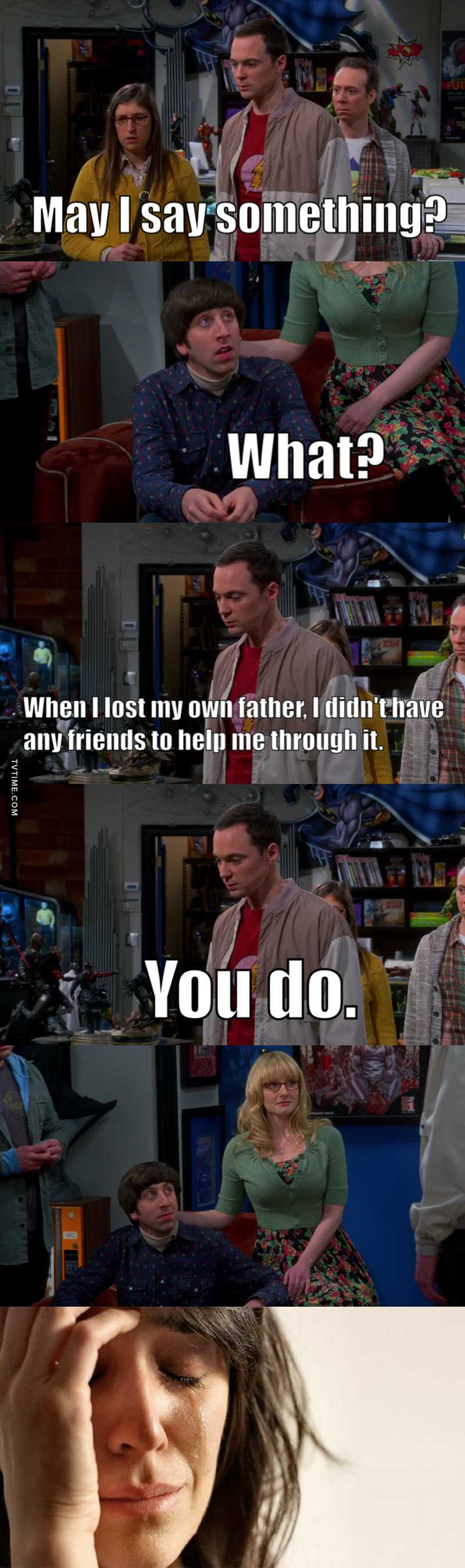 I'm crying! And Sheldon was the one who knew exactly what to say! 💔