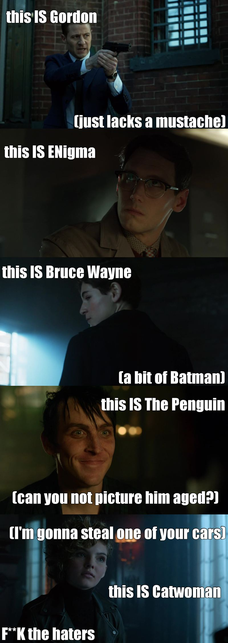 """as fan of Dc\Batman Comics, I can't say anything less than """"I'm proud of this episode"""", this is really a nice representation of Gotham and and the 'past' of characters that we already know. It was really like watching an AWESOME prelude."""