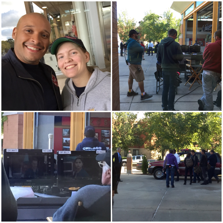 Here are some BTS picture I took when I was at the firehouse the day they shot last night episode.  Joe Minoso (Cruz) is a super nice guy. Seeing Monica walking by me was so impressive. She is ... Wow! I just froze and couldn't talk to her 😅 They were all goofy in behind cut. Next time I will talk to them 💪🏻