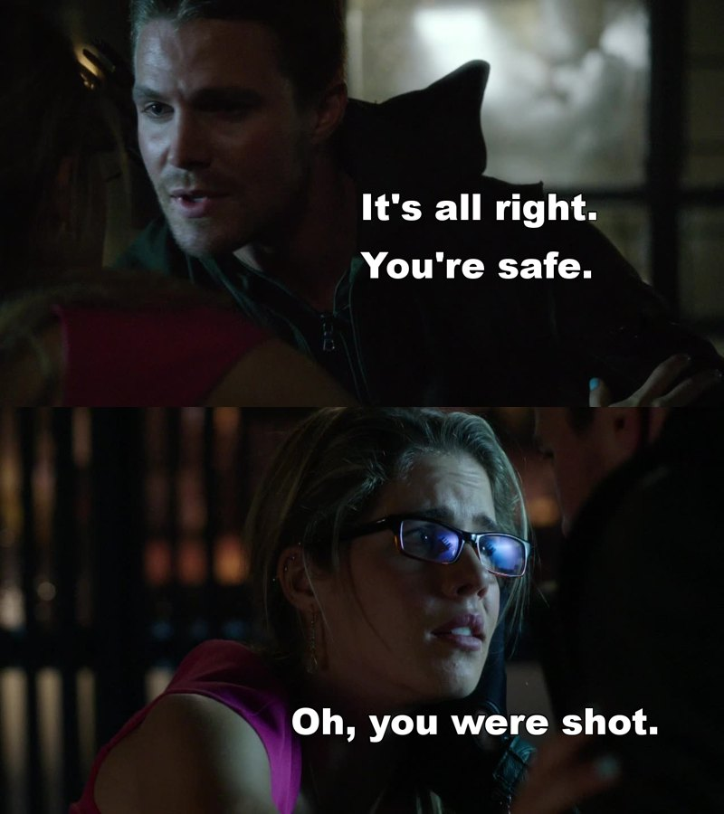 Oh Felicity, you're the one that was in danger, but you still put others first... you're such a sweetheart!
