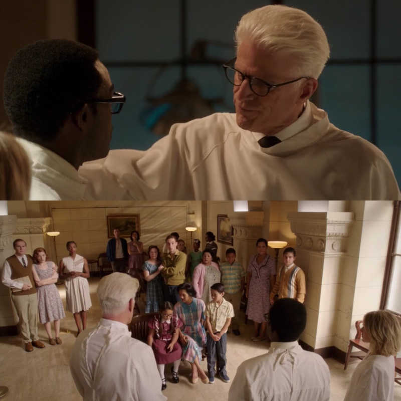 Chidi:I cannot harm one innocent person to save them! Michael: Okay, tell their families.  Michael is the best😂😂😂😂