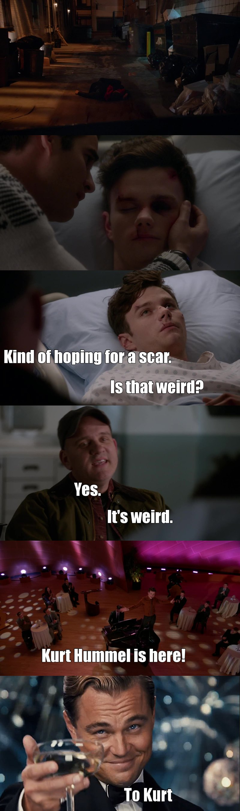 Kurt Hummel is here, fighting and making a joke of it all, bitches!