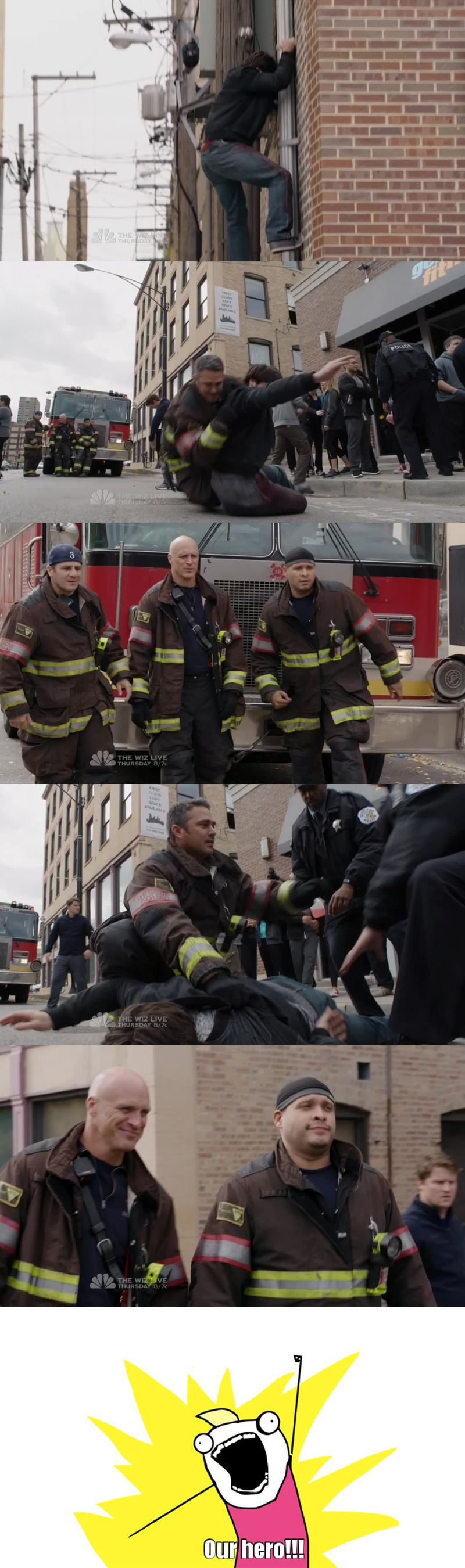 Cruz and Cap had my same reaction!!! Kelly Severide is our hero!!!