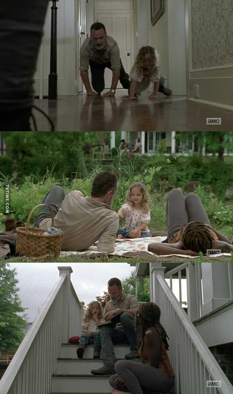 Rick, Michonne and Judith smiling in a zombie apocalypse is so heartwarming.