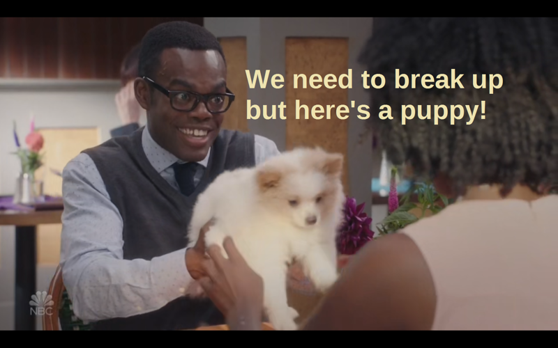 You know what? I would accept this one! Puppies >> boyfriends anyway.