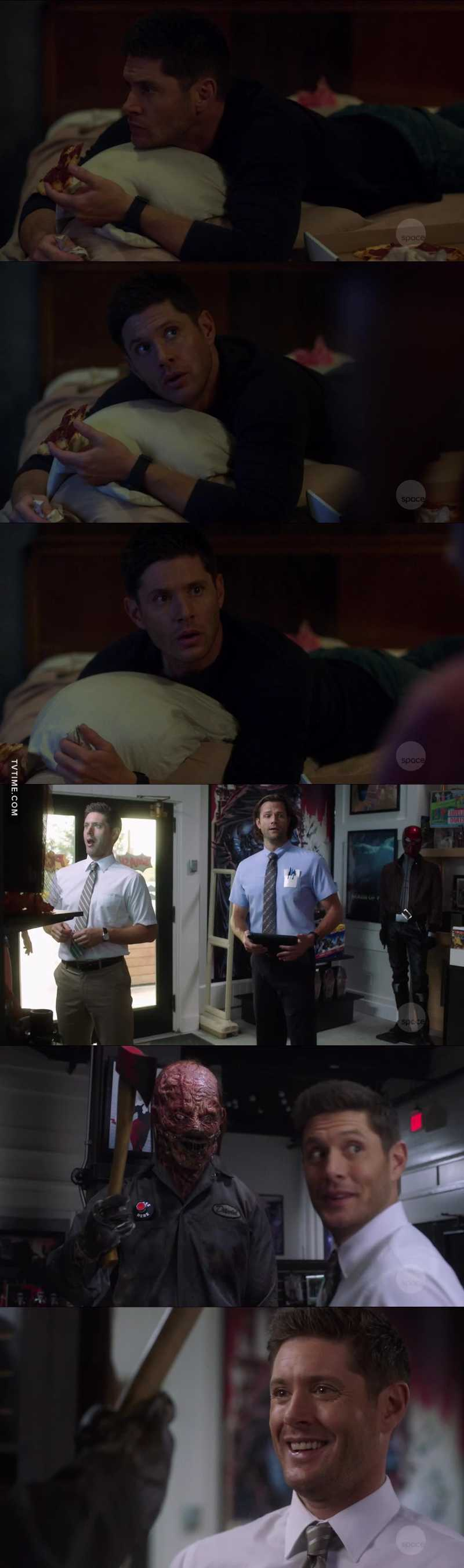 Dean Winchester impersonating the typical fangirl in this episode