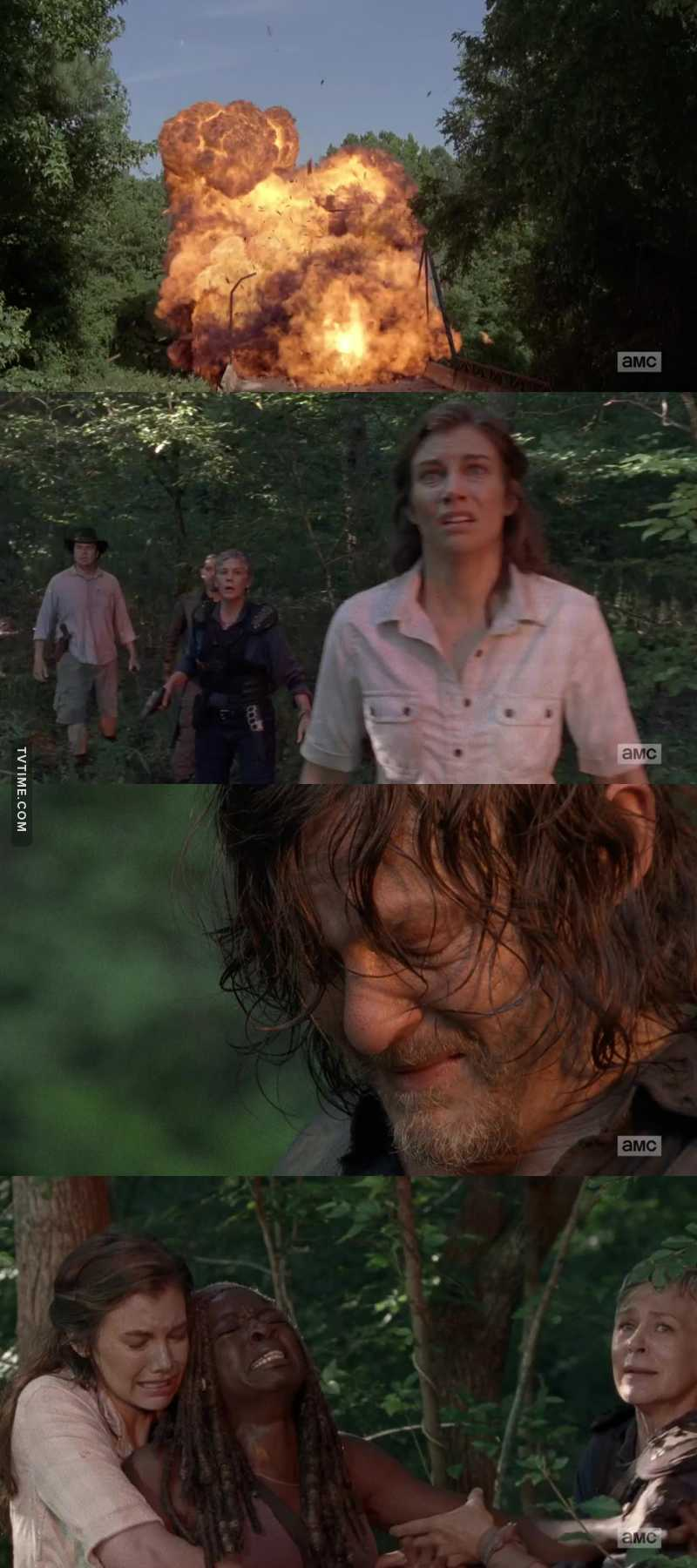 The moment Daryl, Michonne, Maggie and Carol realized they lost Rick forever 💔