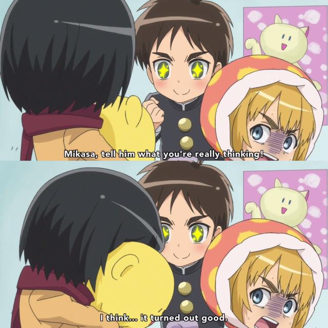 Mikasa is such a liar ahaha... Poor Armin 🙈  P.s.: look at Eren's hopeful face 😂👋🏻
