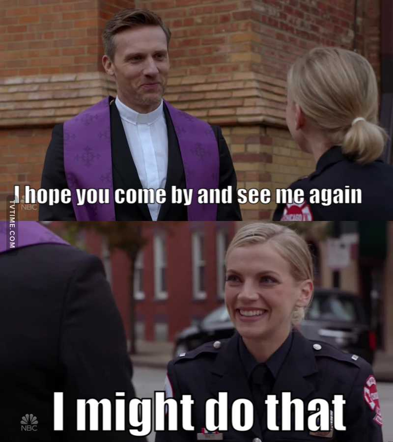 The new chaplain flirting at the funeral 😂 I'm sure Benny would approve