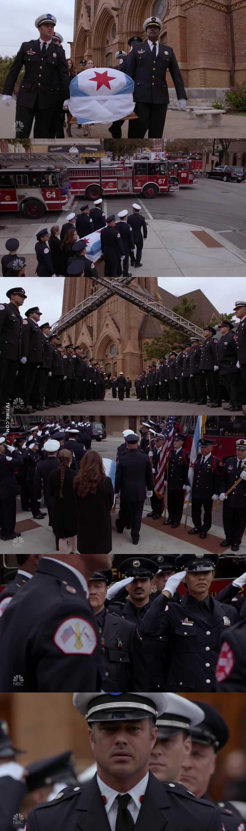 """I funerali di poliziotti, pompieri e militari sono una cosa devastante... ho avuto i brividi dall'inizio alla fine.  """"Il comandante Benjamin Severide è tornato alla base e libero dai suoi doveri. Che riposi in pace insieme ai suoi fratelli e sorelle lassù""""❤"""