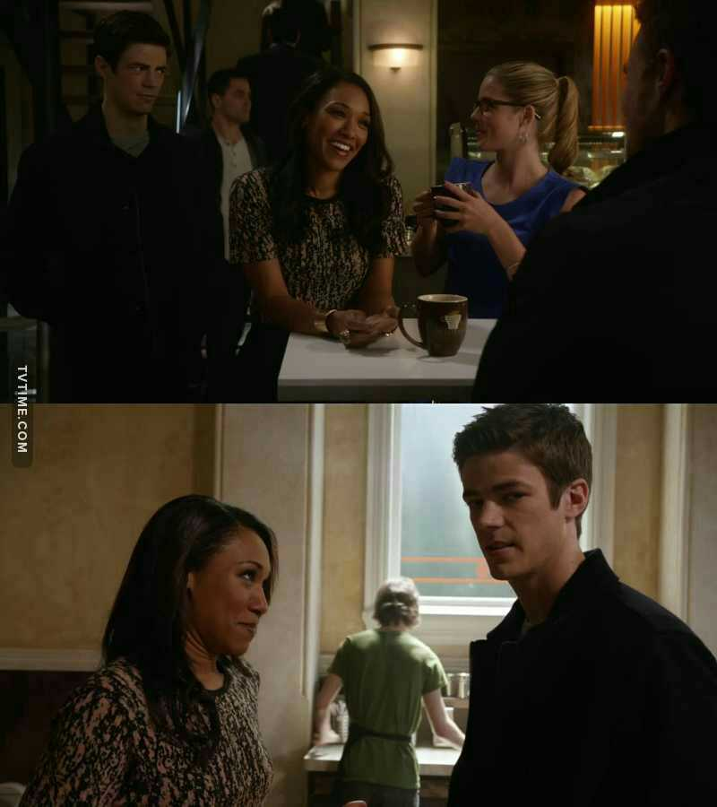 [The Flash Season 1, Episode 8(The Flash VS The Arrow)] Iris(gazing at Oliver): He's on my three list...  Barry: What's a three list???  Iris: My list of three guys I'm allowed to cheat on with Eddie( Her boyfriend )... . . . [ The Flash Season 3 Episode 8(Invasion!)] Iris: Mmmm Barry... So Oliver Queen is the Green Arrow??? Barry: Yeah! Iris: Oh my God... He just got so much hotter... Barry: Oh my God!!!  . . . [The Arrow Season 7 , Episode 9(Elseworld)] Iris:I love you Barry Allen...( And start to kissing Oliver ) . . . Me: 😐😐😕😕😡😡😡