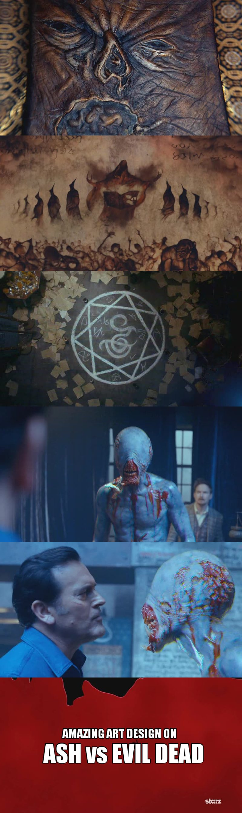 Let's take a minute to talk about how BEAUTIFUL this episode was. The amount of details they've put on it was incredible! From the cover of the book, to the small draw story they created about the book, to the protection demon circle on the ground, to the demon design and to the fight between the demon and Ash, when he disappeared like a freaking monster or when he grabbed Ash and started to torture him.   It was all so fucking good to see. They managed to scare the shit out of me with this demon at the same time the series still funny with Ash and Pablo.   Seriously, so far this is a 10/10 series. Its beyond my expectations.