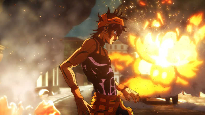 Awesome episode and nice fight scenes Really glad we get even more focus on Narancia and his character this episode. Got to know more about his family and past although it wasn't pleasant to see.  The battle in the present against Formaggio is as intense as I had expected to be. I'm actually quite impressed by how Formaggio's VA managed to amplify his character's personality in this particular episode.  David Productions also made the epsiode pretty thrilling in particular the fire scenes. Can't wait for the next episode
