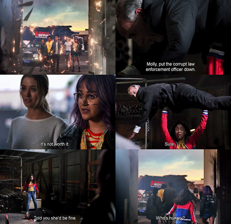 """Molly, put the corrupt law enforcement officer down. It's not worth it."" - Gert.  Molly was fearless!! 😂🤣 That was so funny, great moment and they as runaways slayed it once again. 👏😌"