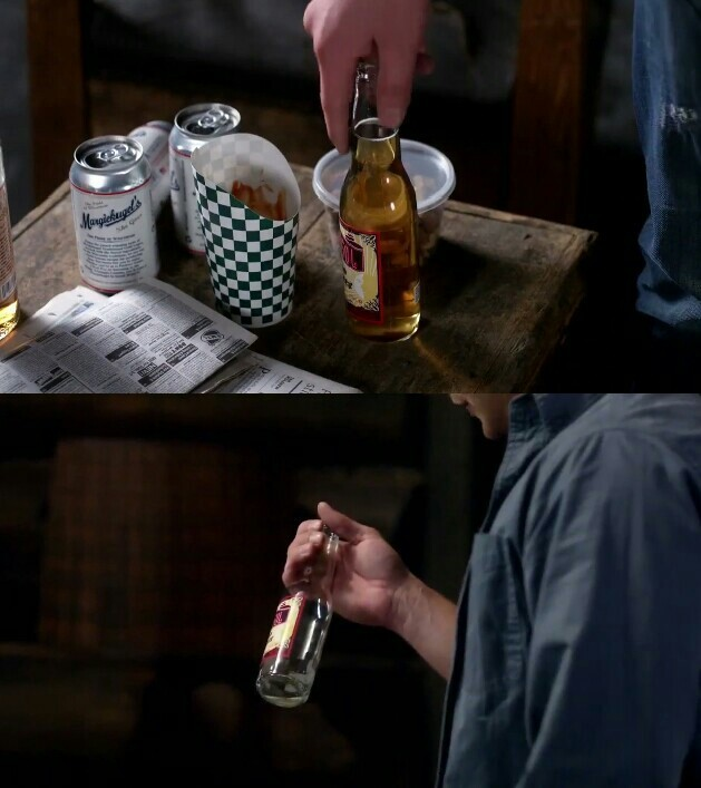 """Am I crazy to think that Bobby is still around as a ghost and he """"drank"""" Dean's drink? There was that ghostly sound when Dean saw the bottle was empty. Maybe Bobby still said no to the reaper and didn't move on."""