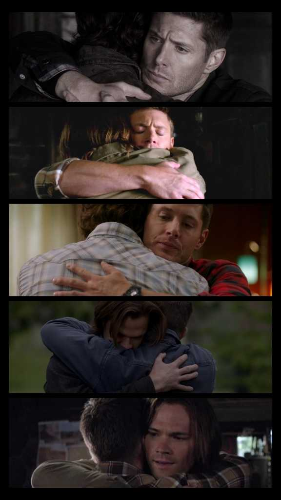 *Sam about Dean: We don't hug, i mean, we do, but only if it's literally the end of the world..* Shut up, you literally hug all the time...