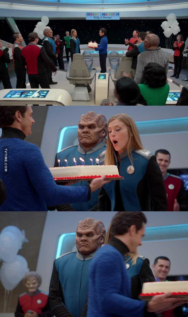No wonder Bortus wanted to have a separate birthday party. They only gave Kelly a cake and she didn't even let him blow out the candles with her. It seemed it WAS all about Kelly.