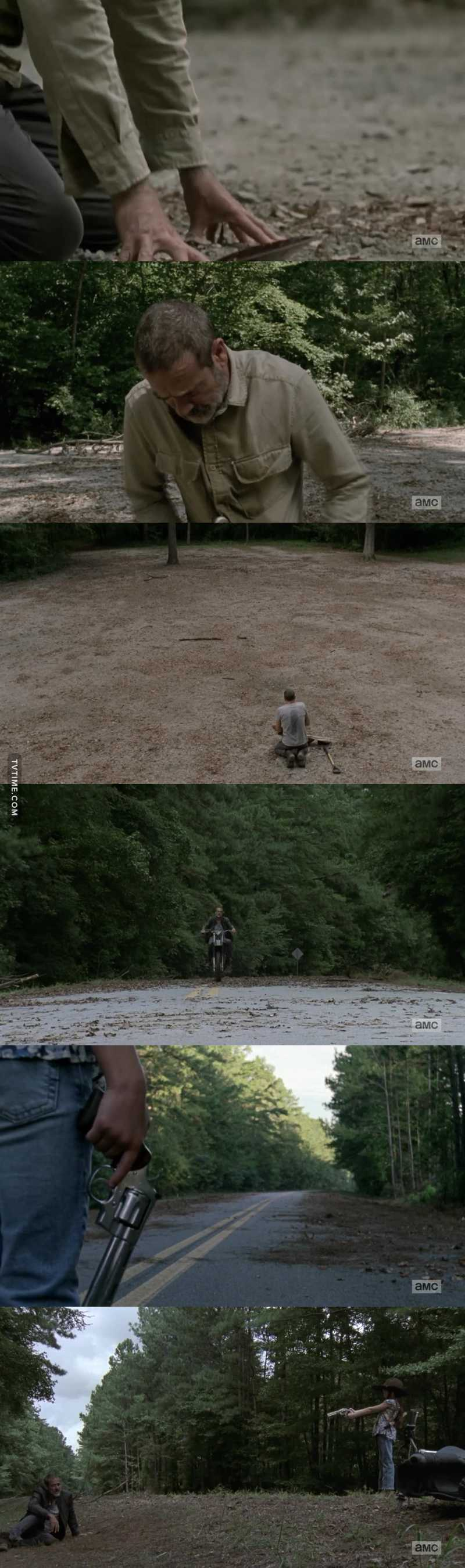 He went back to where it all started, the beginning of the end (where he killed Glenn and Abraham). He felt remorse and he's changed, he's another person now and I can't wait to see more of him & Judith 😻 ❤️.