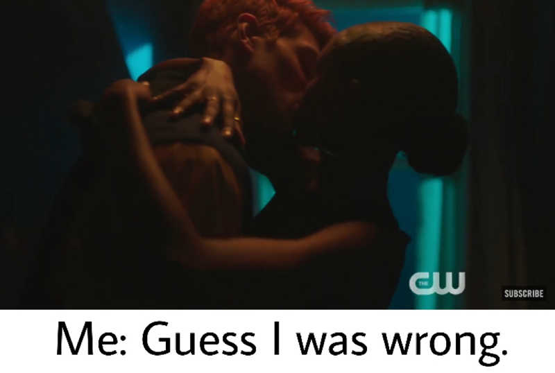 Me: I hope Archie and Josie's relationship will be slower and different than his previous ones. I really want to see them more as friends cause they both need it at the moment.  Riverdale: