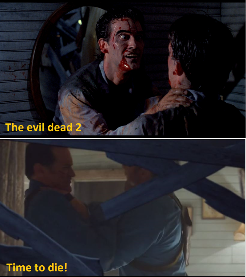 Trick knee Sore kidneys Fake teeth Bum shoulder Soft balls  ahahaha I love Ash!   It 's amazing how they're taking the story from where they had left.  As in The Evil dead 2, Ash finds himself with another himself, so even now he must defeat his greatest enemy : Ash!  Time to die!