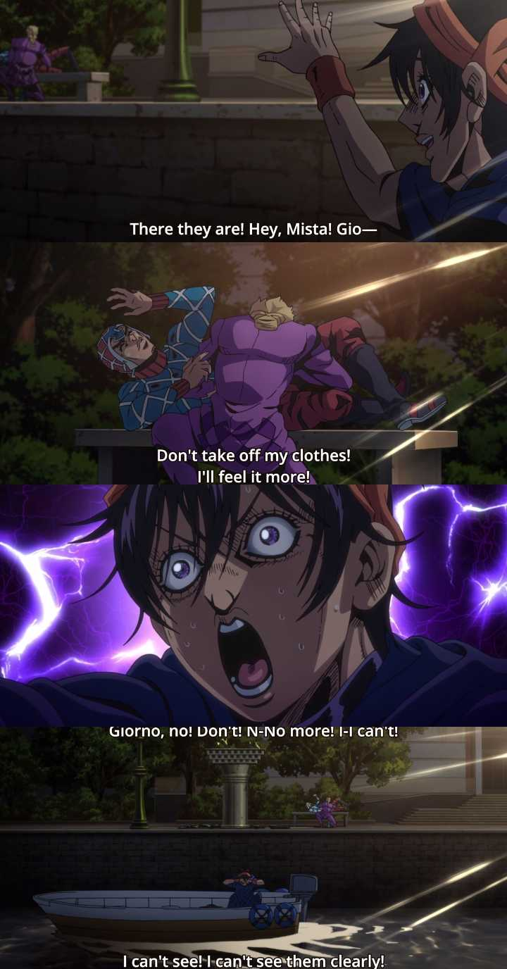 LMAOO let's spare a thought for the poor Narancia, he's the real victim in this episode.