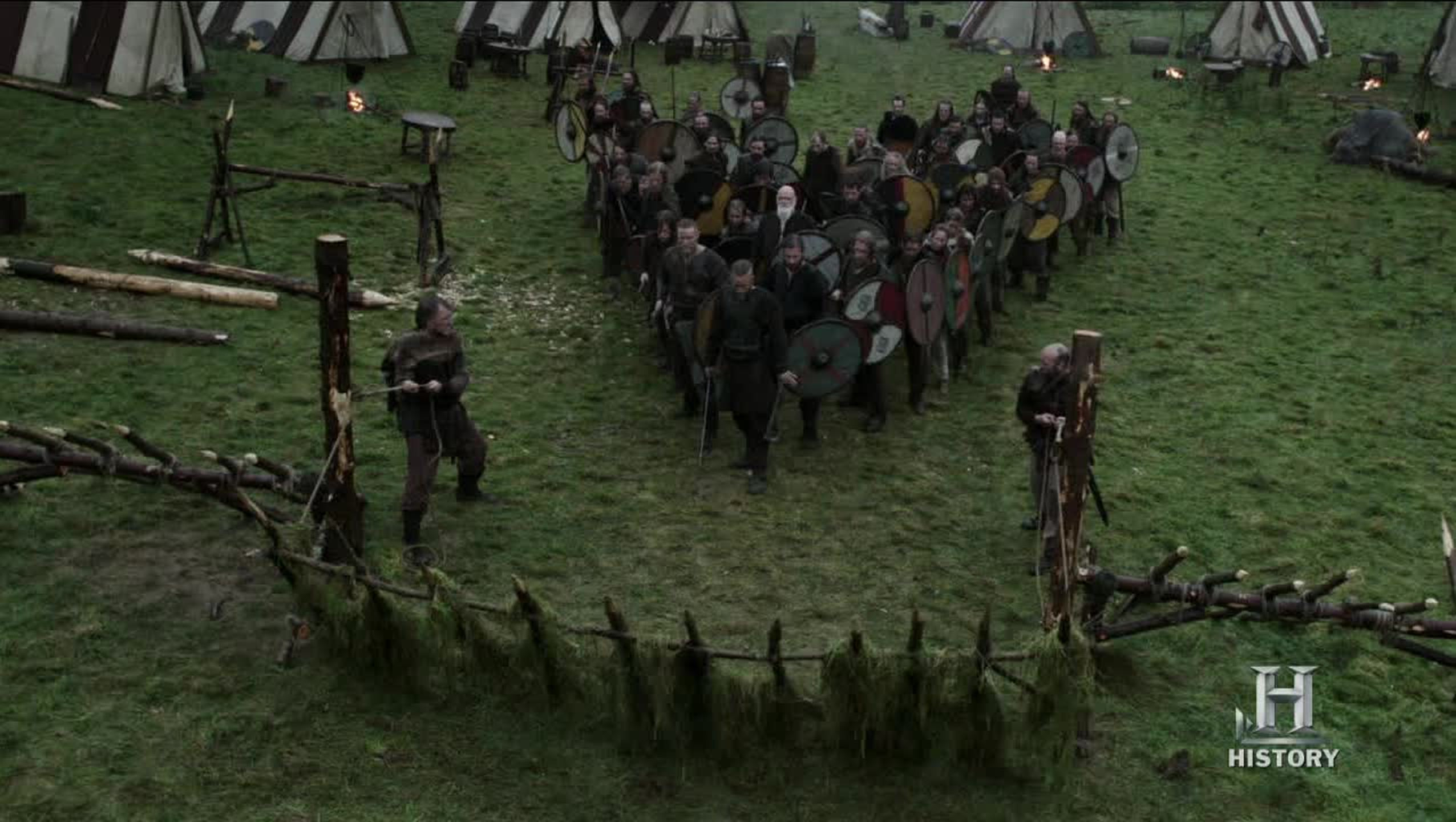 The Viking machine and success in battle.  No barking orders, nothing like that.  They just react, form up and fight as one.