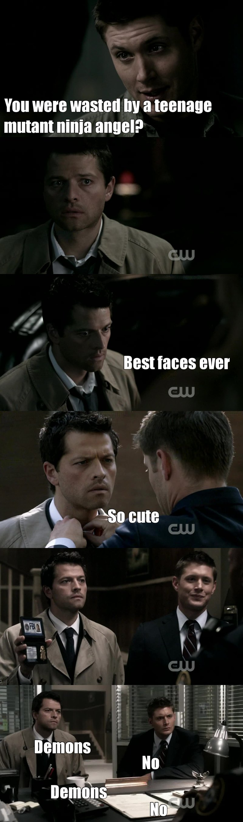 Destiel 😍 I laughed so hard all this episode! Cass is just awesome, the actor is really really good.